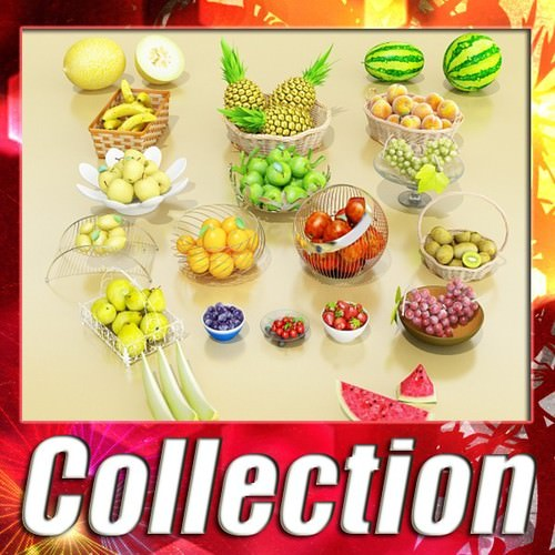Photorealistic Fruits Basket Collection3D model