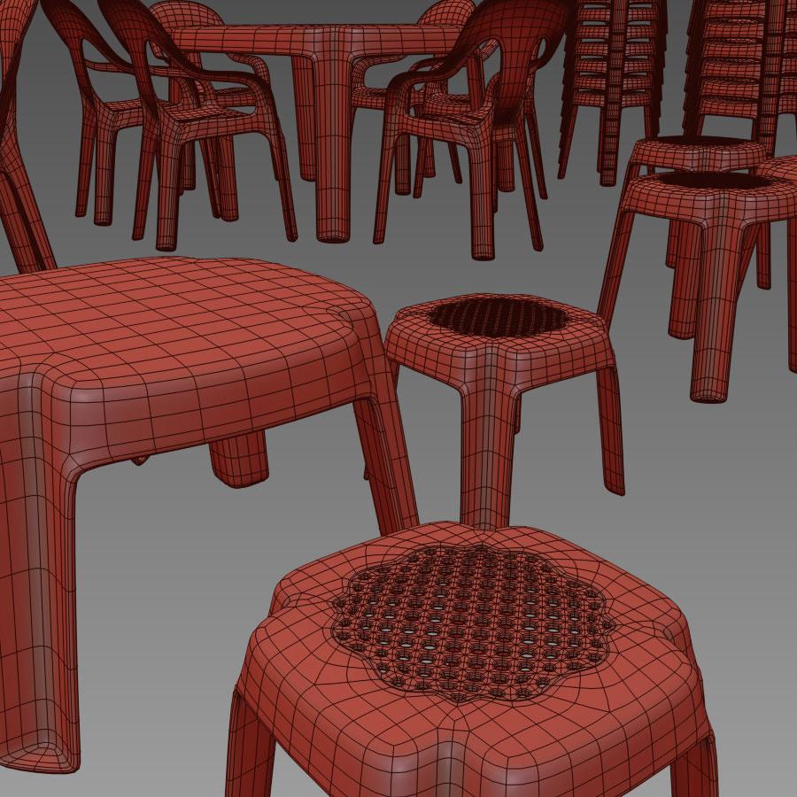 Plastic table chair set 3d models - Set table plastique ...