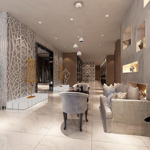 3d models clothing showroom interior 3d model max for Modern showroom exterior design