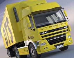 3d model daf cf cab with refrigerated semitruck