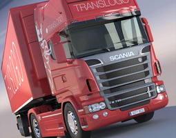 Scania R 730 V8 with refrigerated semitrailer 3D Model
