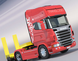 3d scania r730 v8 with flatbed semitruck