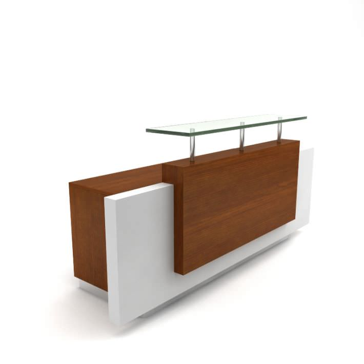 Front wooden reception desk 3d model for Office table 3d design