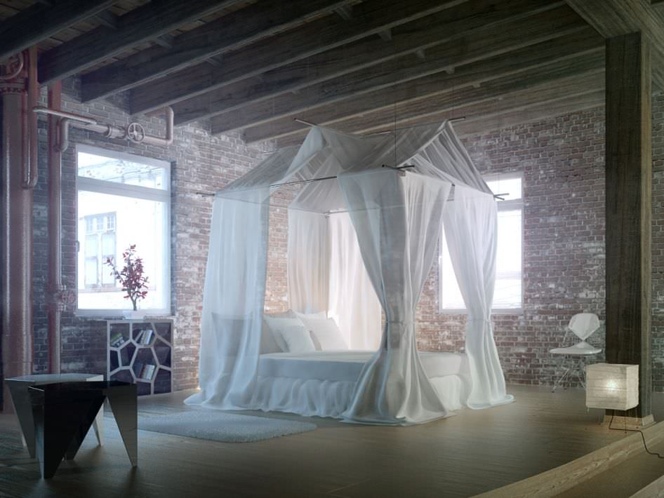 epic bedroom romantic fantasy with silk curtains and brick wa.