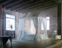 Epic Bedroom Romantic Fantasy With Silk Curtains And Brick Walls Archinteriors Vol 21 3D Model