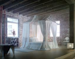 Epic Bedroom Romantic Fantasy With Silk Curtains And Brick Walls Archinteriors Vol 21 3D Model