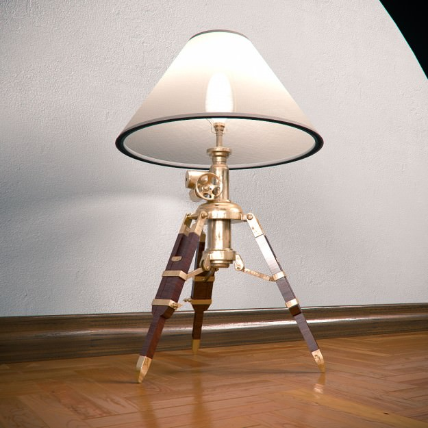 ... Tripod Table Lamp 3d Model Max Obj 3ds Fbx 3 ...