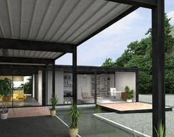 outdoor house with semi open rooms and water in the garden archexteriors vol ... 3d