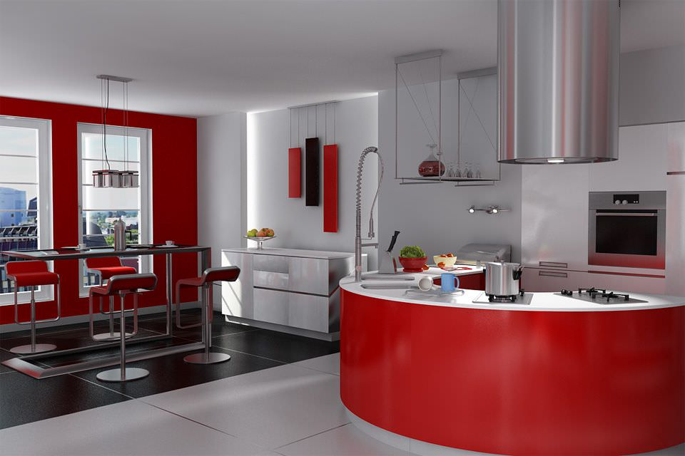 Modern red kitchen and dining room archint 3d model for Kitchen room model