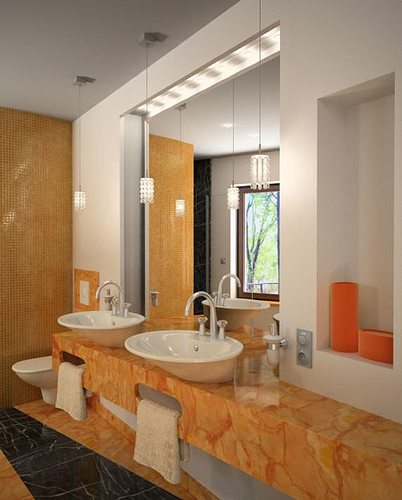 Marble Bathroom With Mirrors And Orange Details Archinteriors 3d Model Max 2