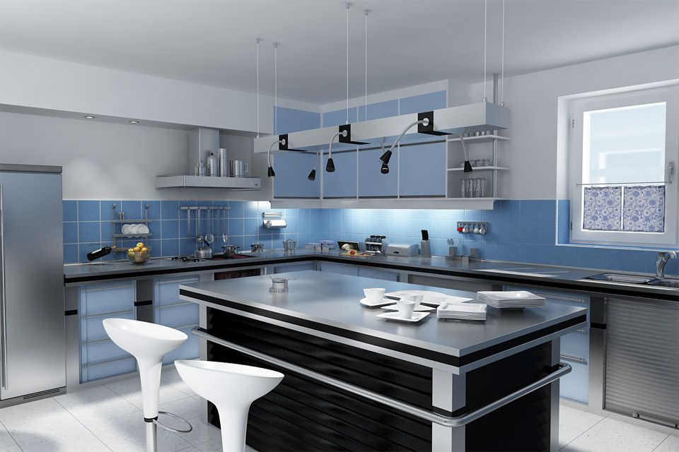 Blue Kitchen Interior With Island Table Archinteriors Vol. 01 For
