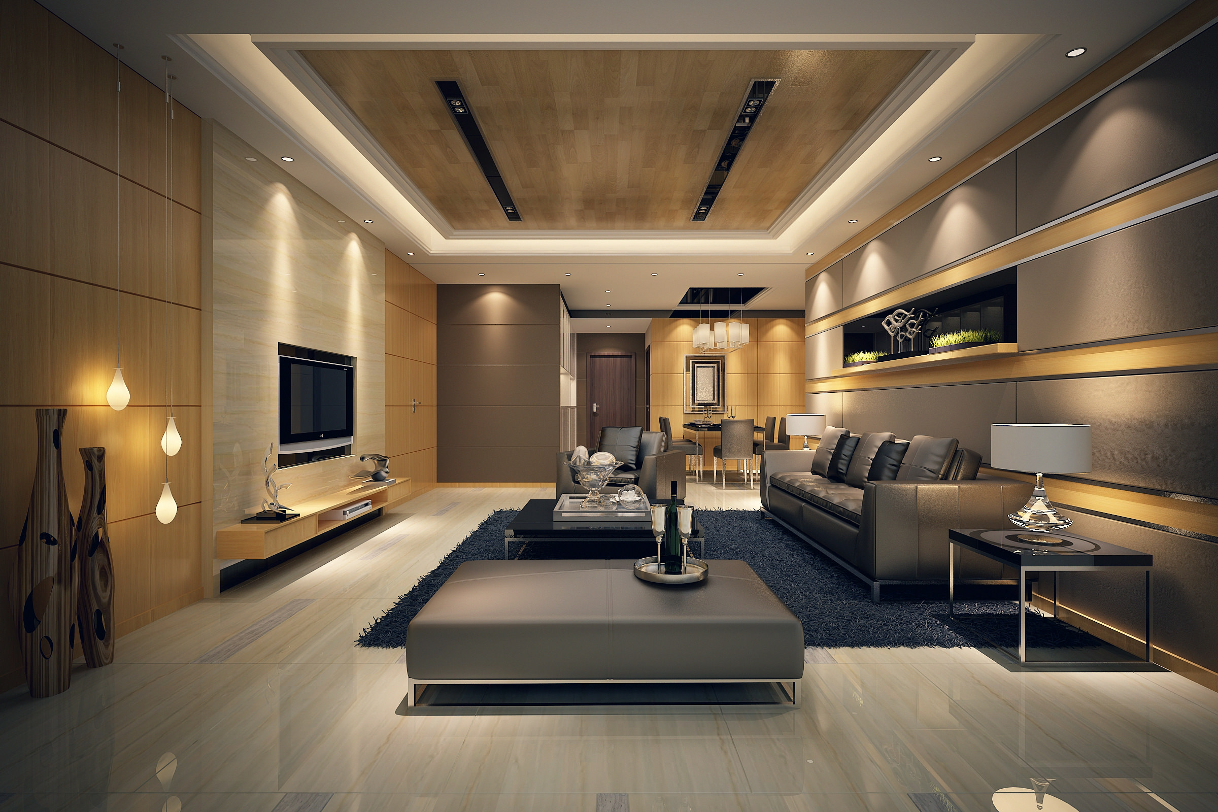 modern living room with grey furniture set and gold paintings 3d modern living room with grey furniture set and gold paintings 3d model max 1