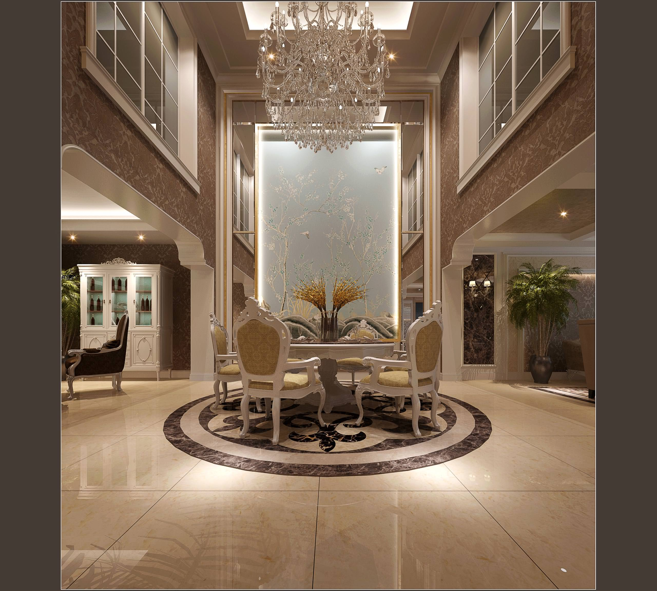 Luxurious hotel hall and living room decor 3d model for Hotel decor items