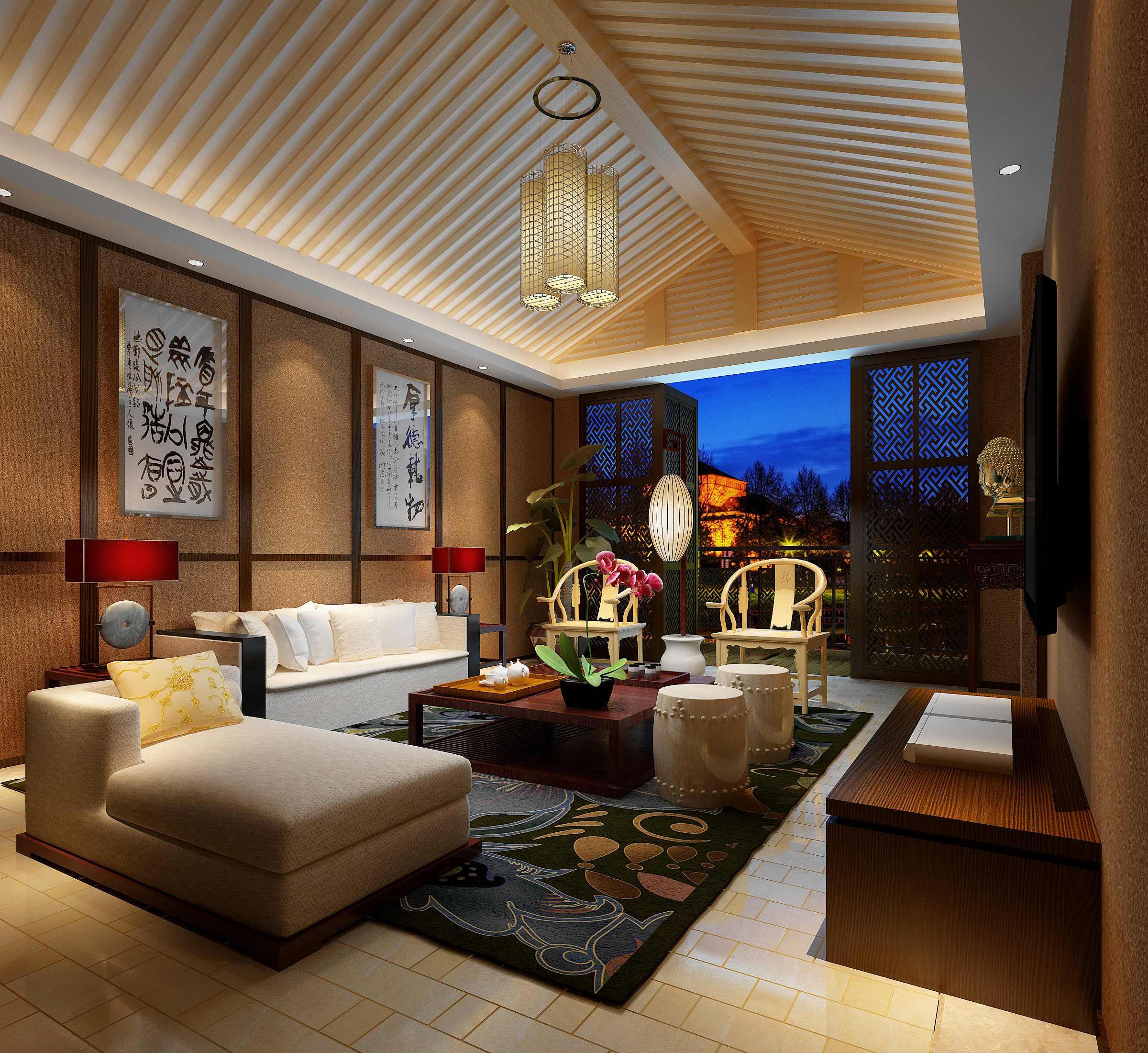 Modern Comfortable Fully Decorated Living 3d Model