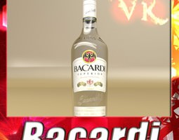 Photorealistic Liquor Bottle Bacardi Superior 3D Model