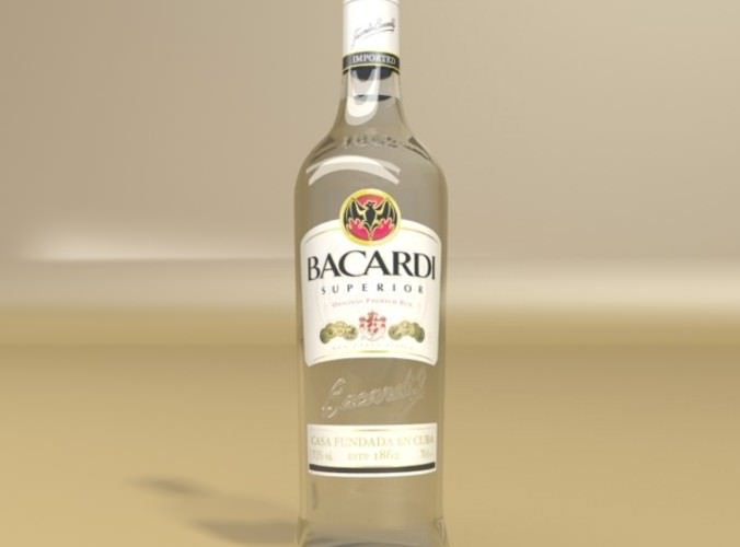 Photorealistic Liquor Bottle : Bacardi Superior. 3D Model .max .obj .3ds .fbx