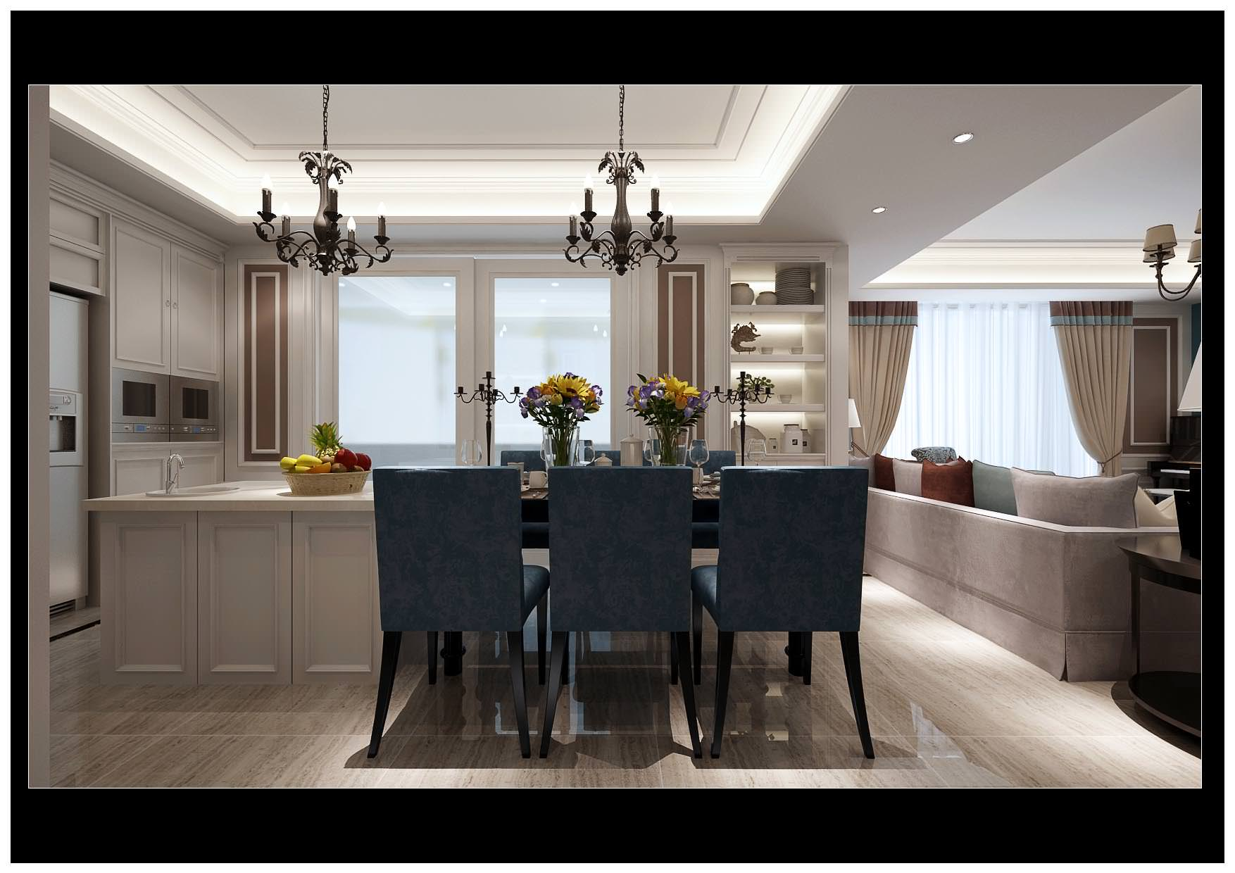 Modern bright living and dining room decor 3d model for Modern dining room accessories