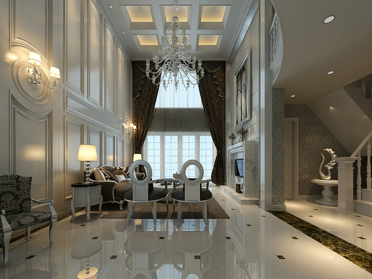 Huge Luxurious Living Room Decorated With 3D Model Max