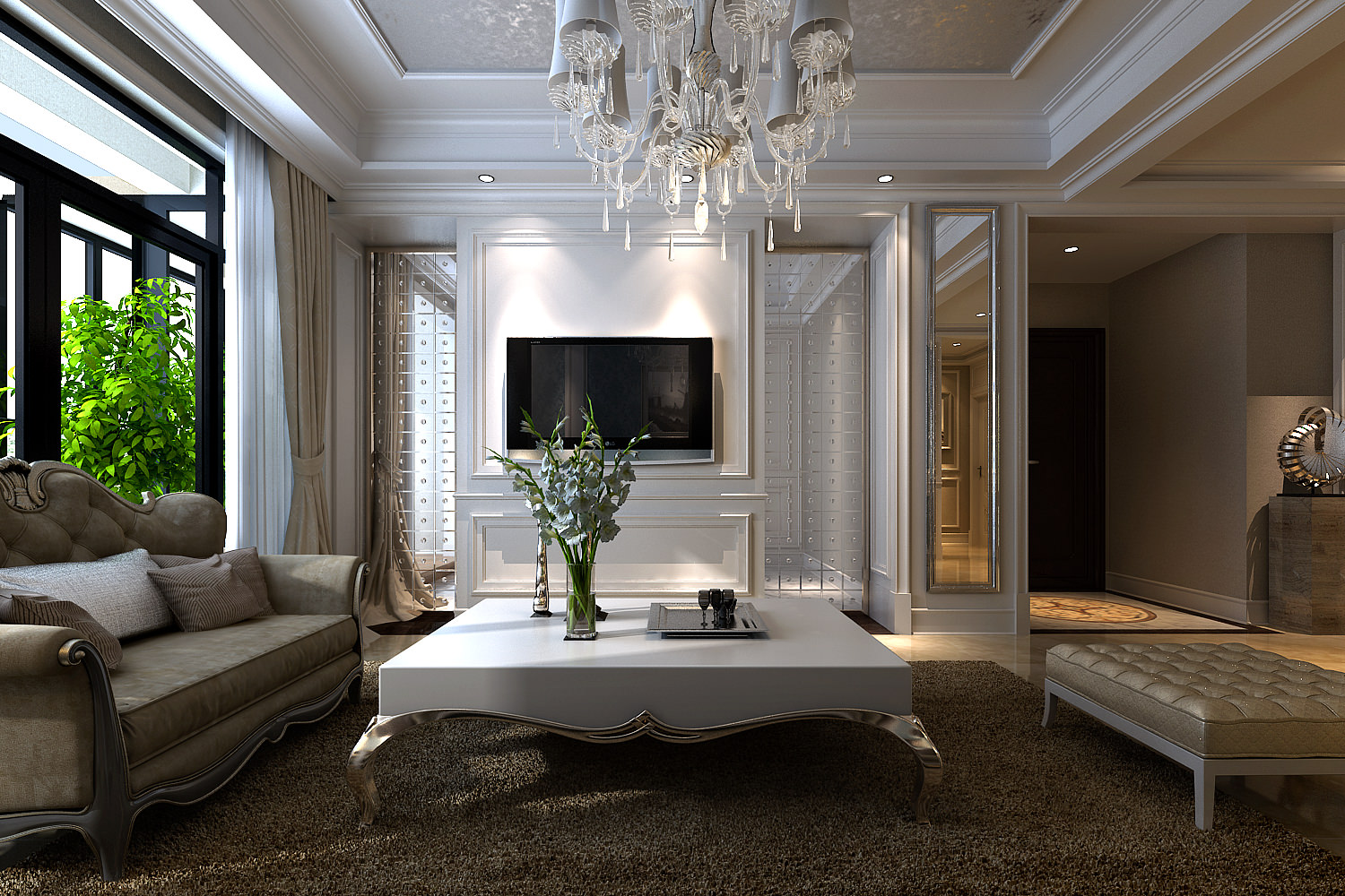 Modern Living Room With Marble Floor And A... 3D Model MAX ...