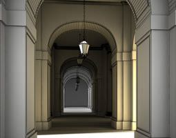 photorealistic hall scene 3d model