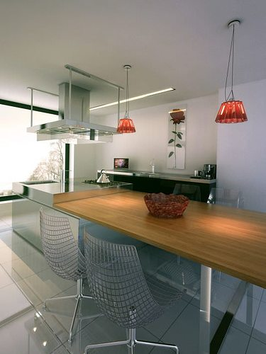 kitchen scene with red lamps archinteriors vol 22 3d model max 1