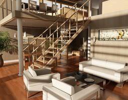 Photorealistic Living Room Scene 3D