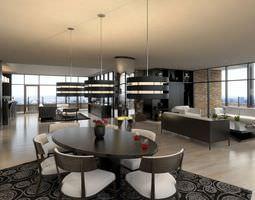 modern living room scene 3d