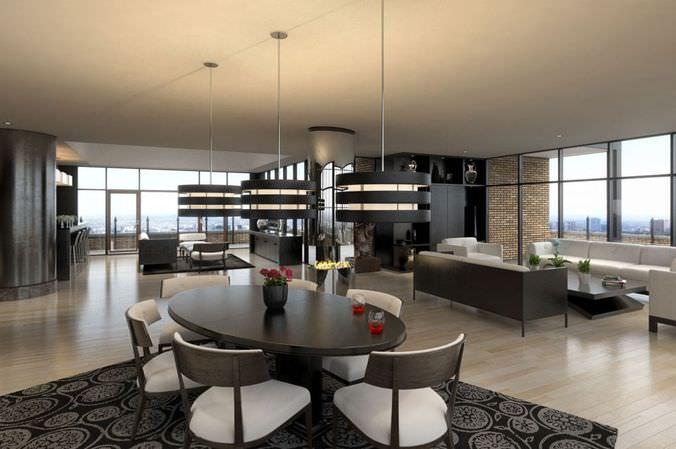 Modern Living Room Scene3D model
