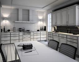 photorealistic kitchen room 3d