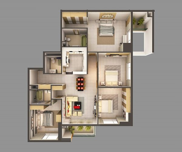 3d Model Detailed House Interior 2 3d Model Max 2
