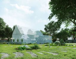 3D Building With Grass Field