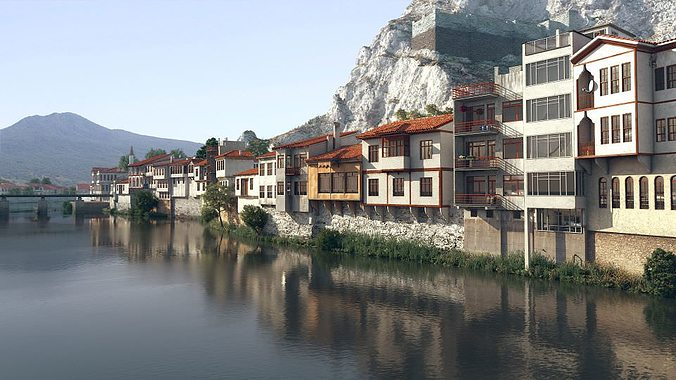 building block near water and mountains 3d model max 1