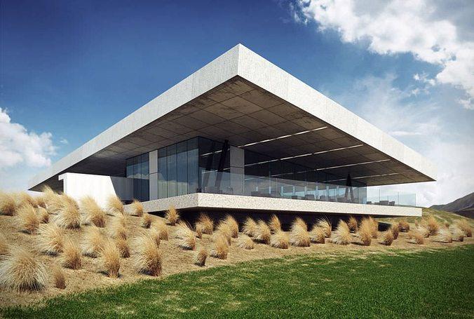 modern building exterior 3d model max 1