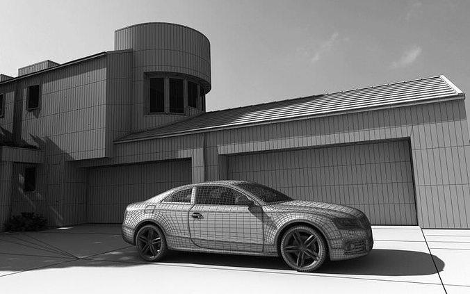 Yard Garage And A Car Audi D CGTrader - Audi car garage