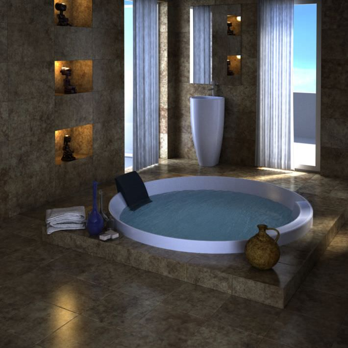 Spa with jacuzzi and marble interior 3d model for 3d bathroom models