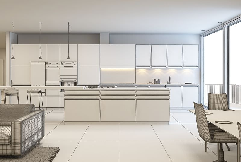 White kitchen and living room 3d model for Kitchen room model