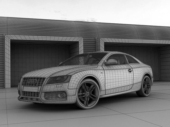 grey audi a5 coupe near the garages 3d model max 1