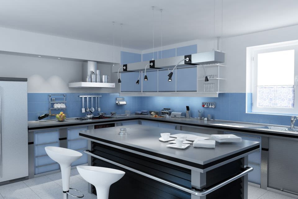 Blue Kitchen With An Island Bar Table Model