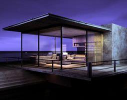 3d model seaside living room with modern interior