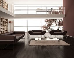 Clean And Simple Burgundy Living Room 3D