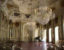 baroque hall with piano and chairs 3d