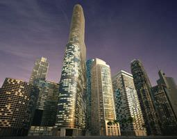 Night Skyscrapers Collection 3D model