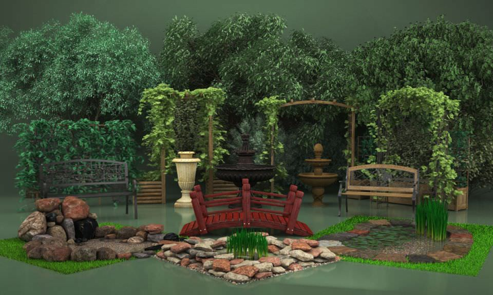 Garden Elements Collection 3d Model Cgtrader Com