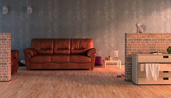 living room with brown leather sofa 3d model max 1
