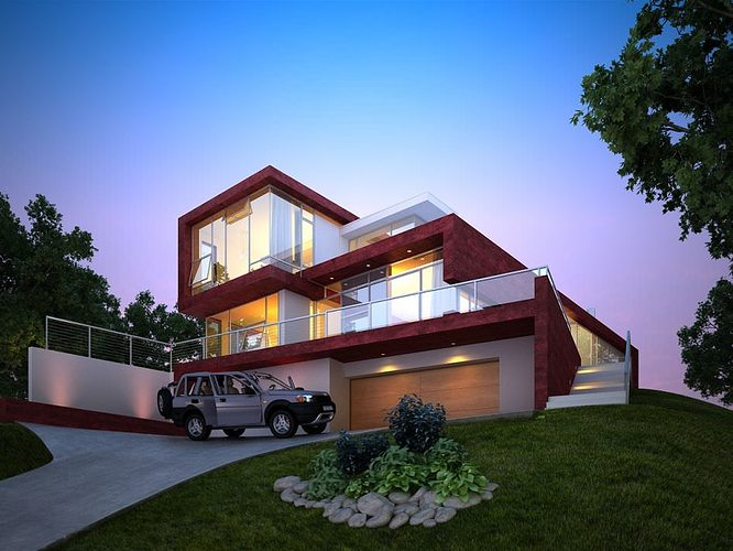 ... Modern House With Garage 3d Model Max 2