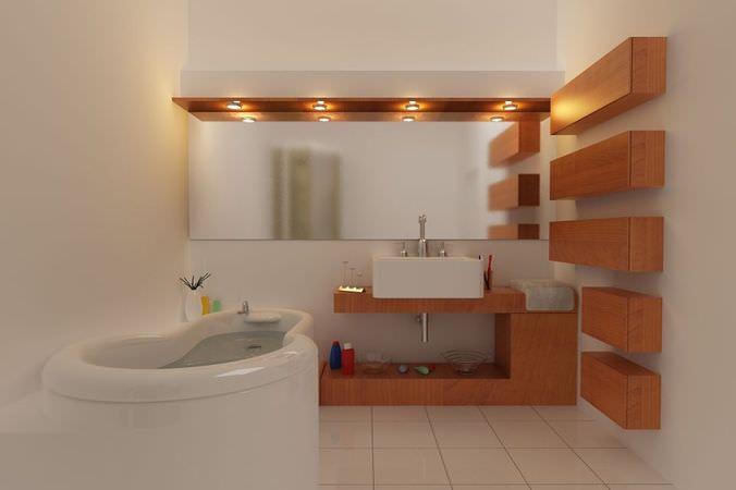 Modern White Bathroom Scene3D model