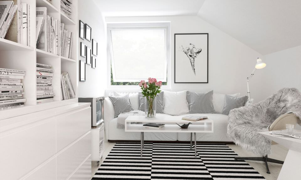 Exellent White Cozy Living Room In Flat Stock Photo I For