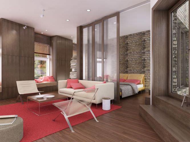 Cozy Living Room With Bedroom3D model