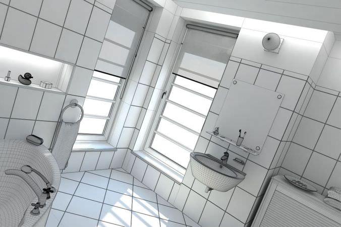 White Bathroom Scene3D model