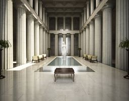 fancy hall with statues and fountian scene 3d model